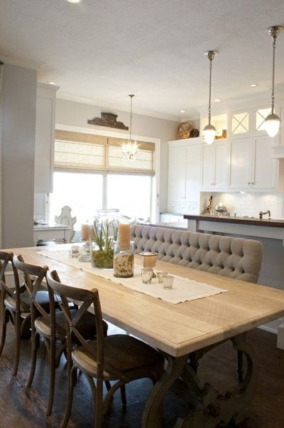 dining room: tufted bench seating / for my kitchen - juxtapost