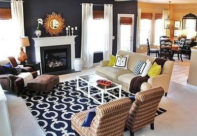 navy blue living room love the rug gold accents bamboo
