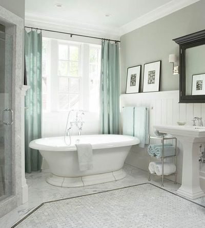 Blue grey and white classic bathroom bath ideas for Green and gray bathroom designs