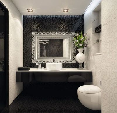 white bathroom with black accent wall bath ideas Juxtapost – Accent Wall Bathroom