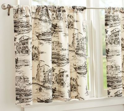 Fishing Village Toile Cafe Curtain From Pottery Barn Nea For My Kitchen Juxtapost
