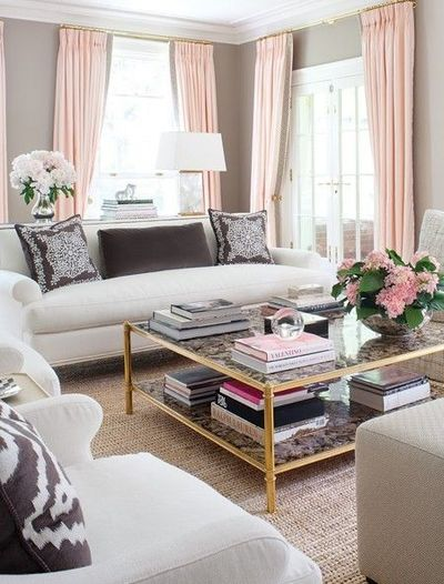 girly glam living room white warm gray pink peach blush