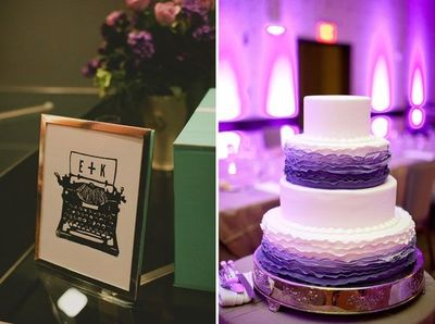 purple and white wedding cake, ruffles