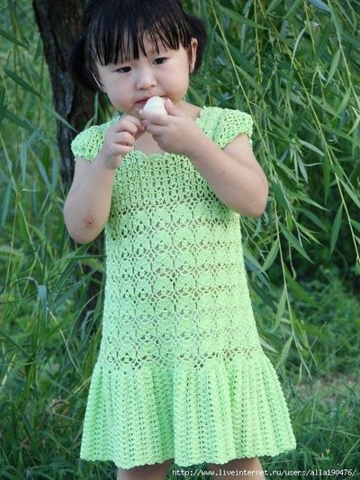 Free Crochet Pattern For Girl Dresses : Girls Dress free crochet graph pattern / baby time ...