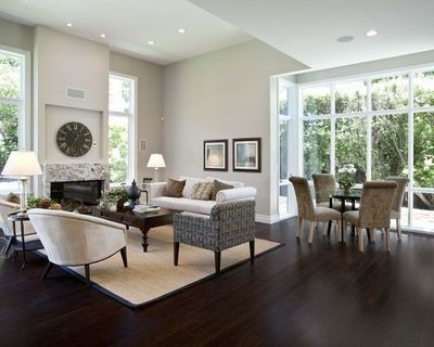 Agreeable Gray Living Room : SW Agreeable Gray, white trim, and dark hardwood / For the ...