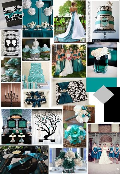 Teal Black And White Wedding
