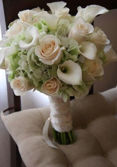 Bridal Bouquet With Calla Lilies And Hydrangeas : Green hydrangea and rose calla lily bridal bouquet