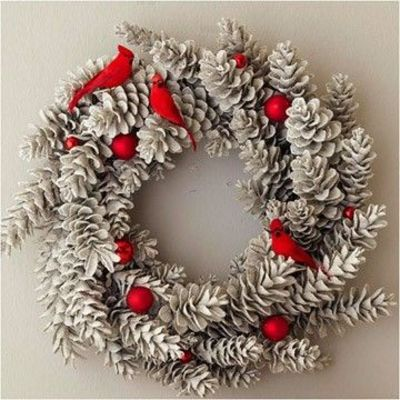 Pinecone Wreath with Cardinals and Ornaments - This pinecone