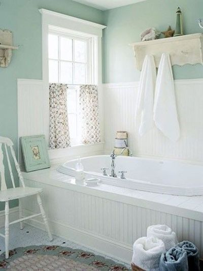 A pretty bathroom in seafoam green and whites perfection Pretty bathroom ideas