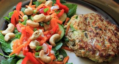 Thai Curry Chicken Burgers & Herb Salad