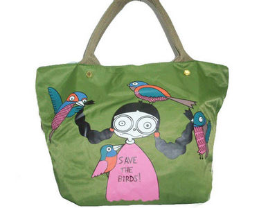 a70d2d7476c2 Marc By Marc Jacobs Bird Girl Canvas Tote Bag Green   Fashional ...