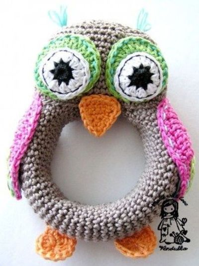 Crochet Pattern Owl Baby : #DIY - Crochet Baby Rattle - OWL #pattern - USD4. / crochet ...