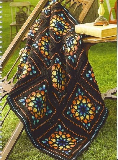 Free Crochet Pattern For Cathedral Window Afghan : Stained glass window afghan crochet pattern / crochet ...