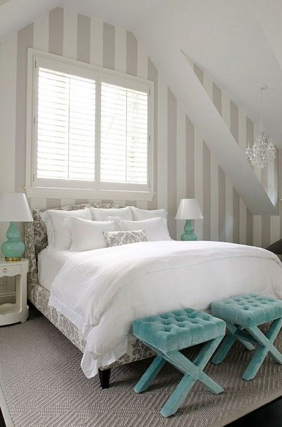 White tan and turquoise bedroom striped wallpaper for Turquoise wallpaper for bedroom