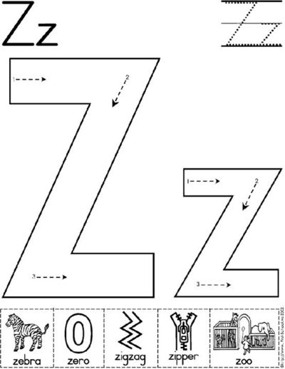 Letter Z worksheet / Preschool items - Juxtapost