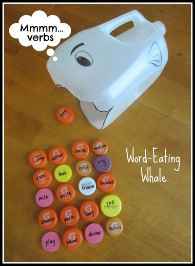 Grab an empty milk jug, scissor, permanent marker, and some bottle caps; it's time to practice nouns and verbs with Word-Eating Whale! Stop by Relentlessly Fun, Deceptively Educational for instructions.