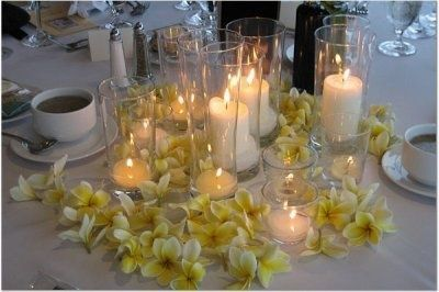 flowers with candles