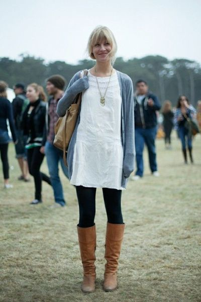 White dress over black leggings with blue cardigan and ...