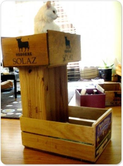 Diy Wine Crate Cat Bunk Bed For The Love Of Cats