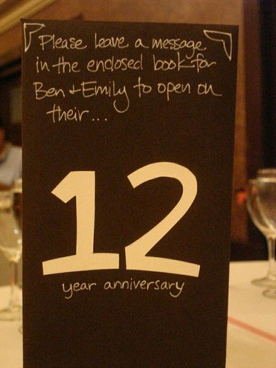creative table numbers / anniversary book