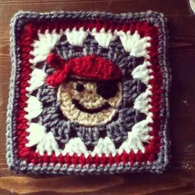 Arrrrrgh! Scary pirate blanket square, :) Pattern credit: Repeat Crafter Me