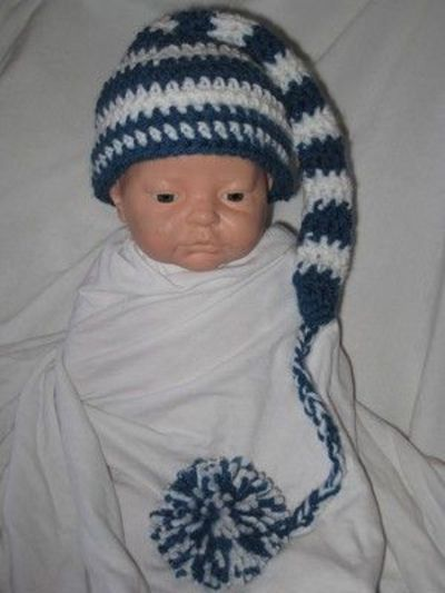 Free Crochet Long Tail Pixie Hat for a newborn Pattern ...