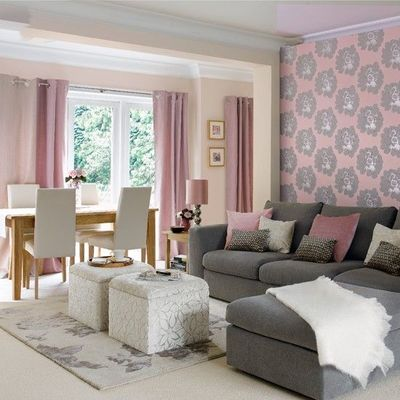 Colors Salon With Lilac Curtains And Grey Sofa For The
