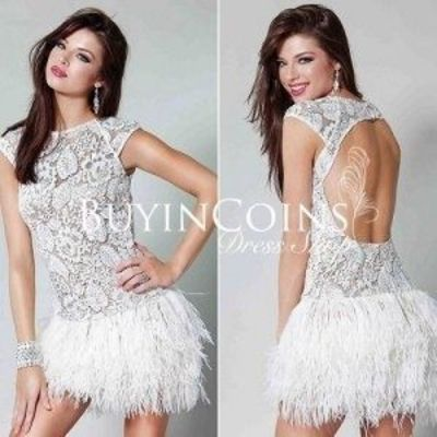 Sexy Strapless Layers Feather Bottom Prom Dress With Short S