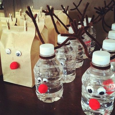 Reindeer water bottles and popcorn bags...would be cute for the Holiday party at school