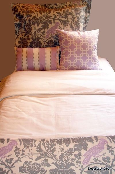 Lavender & White Damask Dorm Designer Bed in a Bag | Dorm Bedding