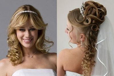 curly wedding hairstyles with tiara gowns juxtapost