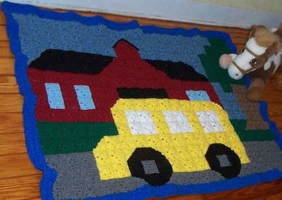 Free Crochet Pattern - Wheels on the Bus Cuddle Quilt from