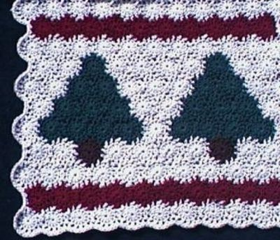 Free Online Christmas Crochet Afghan Patterns : Primitive Pines Yo-Yo Afghan & Christmas Tree Skirt - fr ...