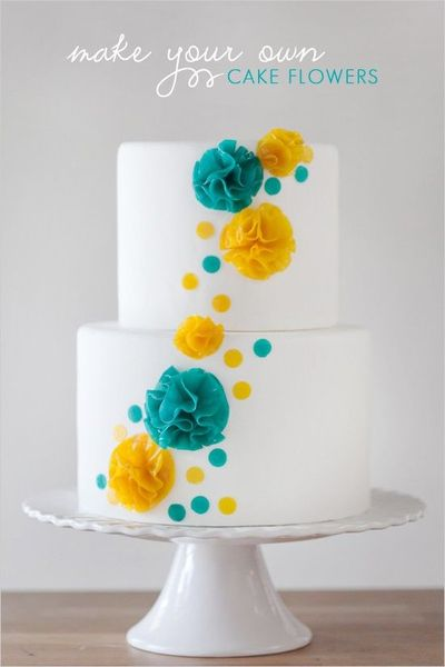 Modern Bright And Whimsical Turquoise Yellow Wedding Cake