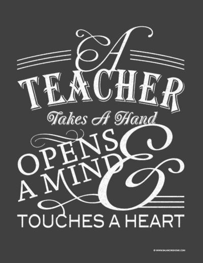Free Teacher Appreciation printable inspired by chalkboard art. Fits in an 8x10 opening and would look lovely framed. From balancinghome.com