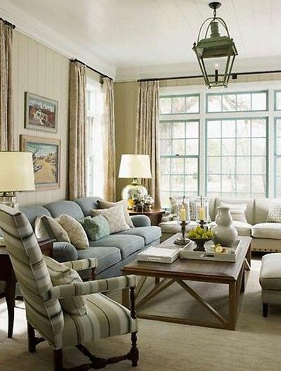 Sr gambrel living room sage green walls light blue sofa - Sage green living room ...