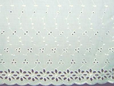 """Scalloped Embroidered Eyelet Lace Fabric Polyester Cotton 14-3/4"""" White   eBay"""