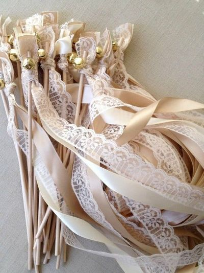 50 Wedding Wands Lace Ribbon Bells Streamers - What a great idea instead of throwing rice, etc... and looks SUPER COOL for pictures!