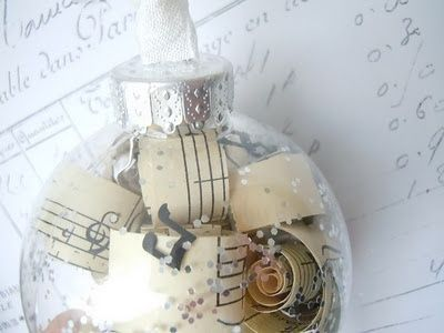 Clear plastic ornaments filled with sheet music curls and for Clear plastic craft ornaments michaels