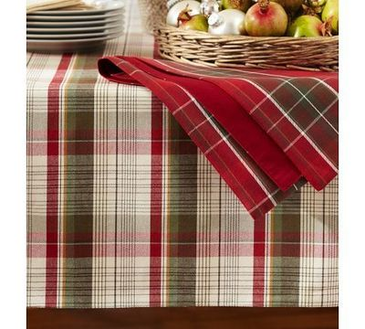 Plaid Christmas Tablecloth Loris Decoration