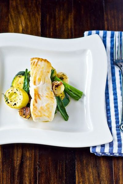 Seared Halibut with Summer Vegetable Sauté