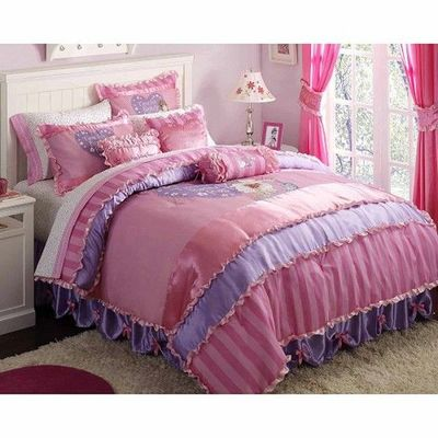 Pink and purple bedding with lavender walls and white - Purple and pink comforter ...