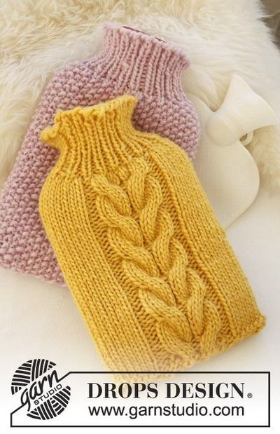 Free pattern: Knitted DROPS cover for hot-water bottle in &... / crochet ...