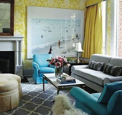 Gray couch w gray rug and yellow turquoise accents for Dark yellow living room