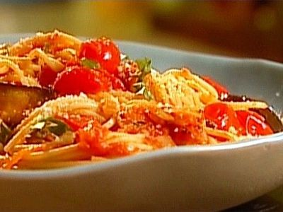 Spaghetti with Roasted Eggplant and Cherry Tomatoes from FoodNetwork.com