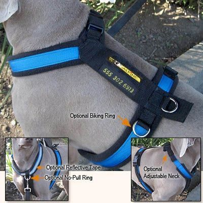 all purpose customizable utility harness. optional features include side rings for biking, front ring for no-pull harness, reflective tape for nighttime activities, & embroidering on back strap