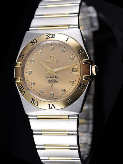 Omega Constellation Stainless Steel Case 18K Yellow Gold Dial Watch