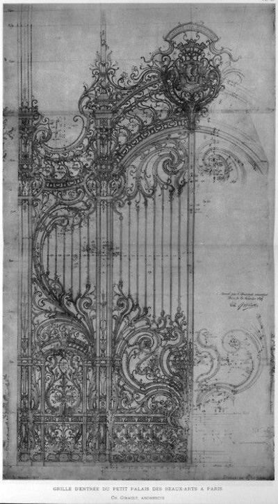 Drawing of a wrought iron gate paris nice signs juxtapost