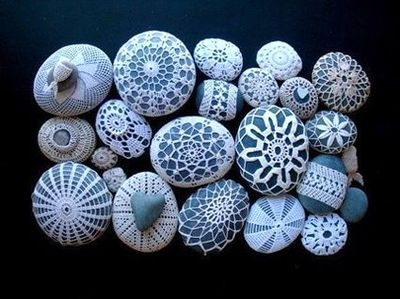 crochet covered sea stones