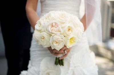Ivory garden roses expose a blush inside and resemble the beauty of a peony :)